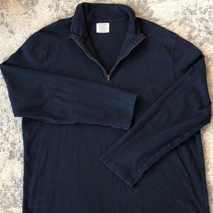 XL J. Crew long sleeve 3/4 Zip Navy Blue Sweater